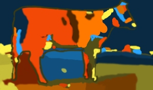 An abstract cow using one  color palette and shades.