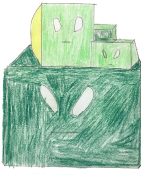 Color Squares: My inspiration behind was a Minecraft poster I saw but instead of the Minecraft slimes I drew them as boxes.